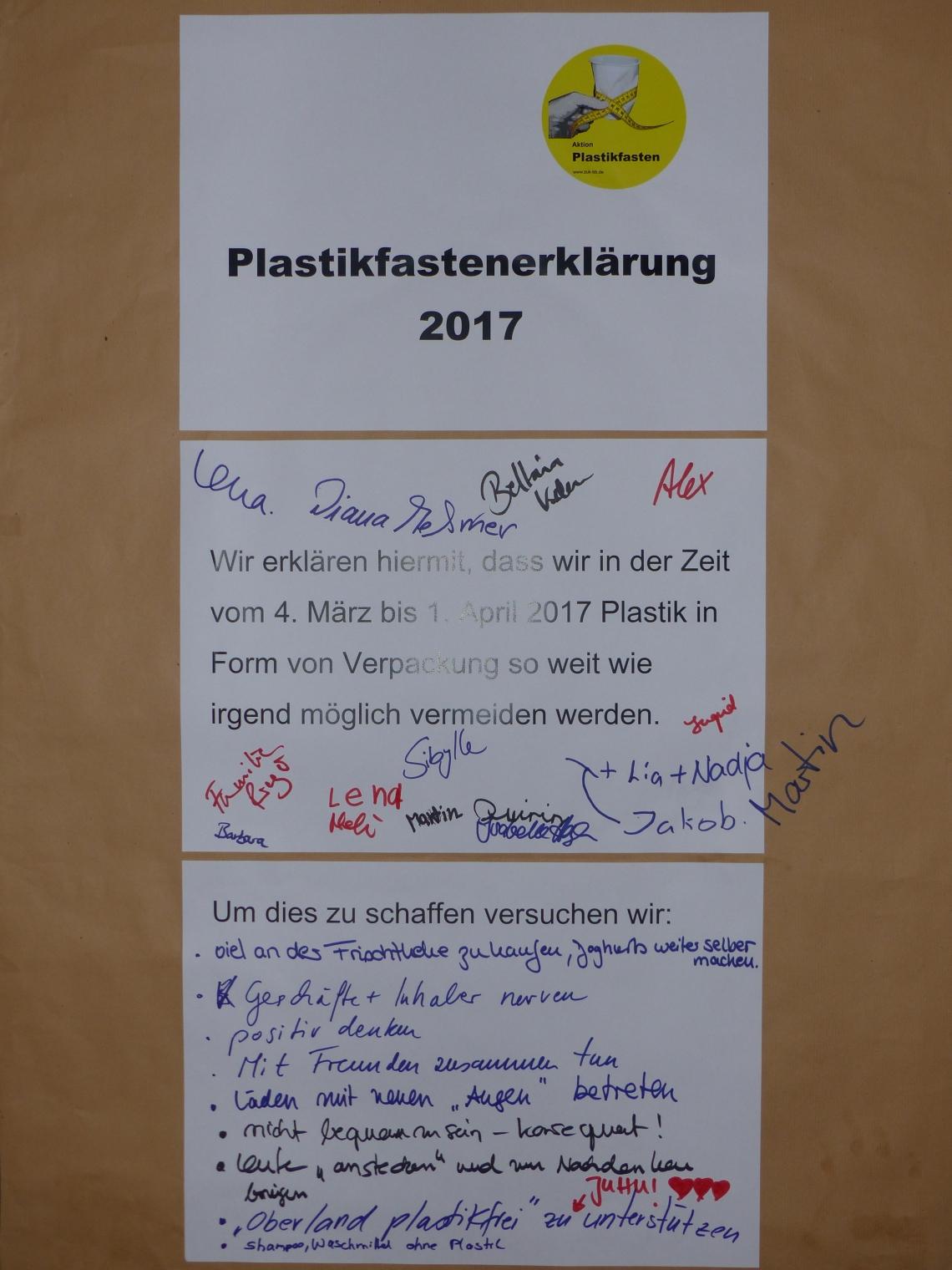 Plastikfasten-Erklärung