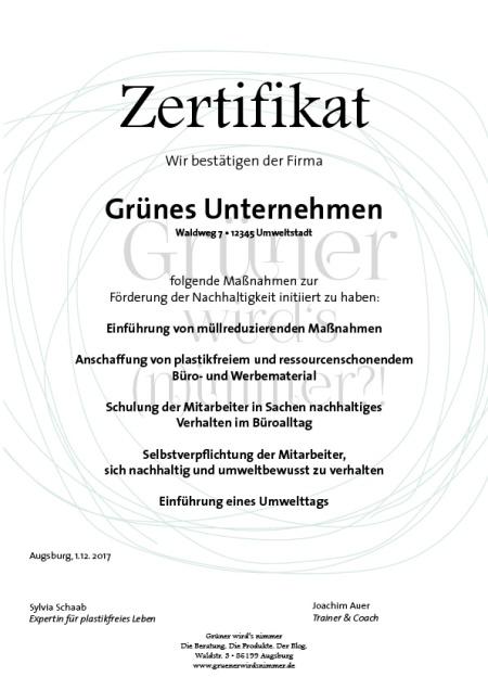 Zertifikat Grünes Unternehmen